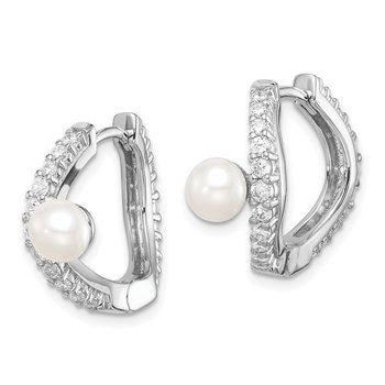 Sterling Silver Rhod-plat 5-6mm White Button FWC Pearl CZ Hoop Earrings