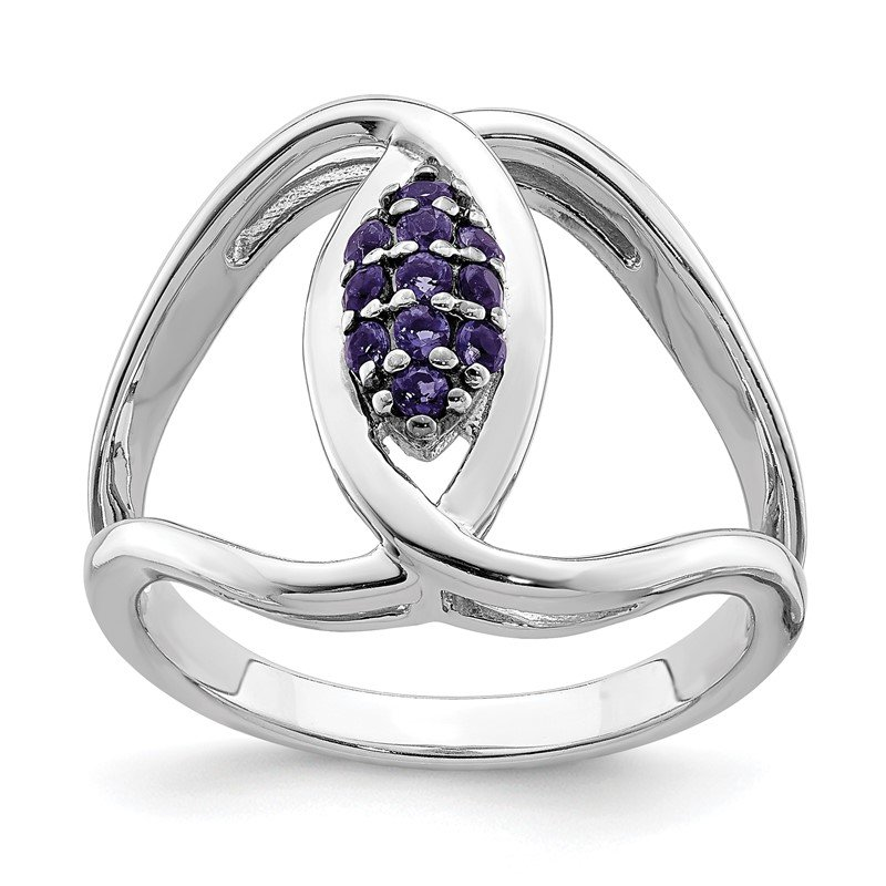 Quality Gold Sterling Silver Rhod-plat Iolite Ring