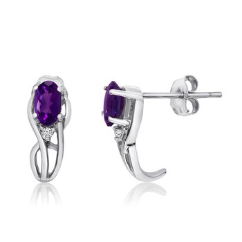 14K White Gold Curved Amethyst and Diamond Earrings