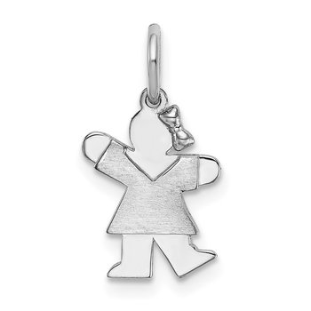 14k White Mini Girl Kiss Charm