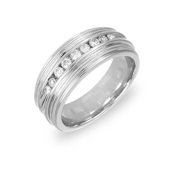 14K WG Diamond Milgrain Band