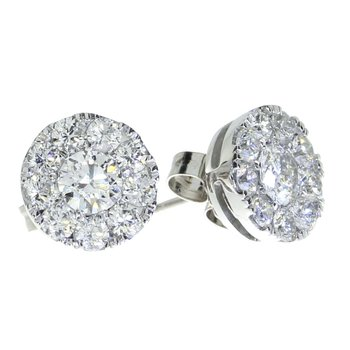 14K White Gold 1 ct Diamond Cluster Stud Earrings