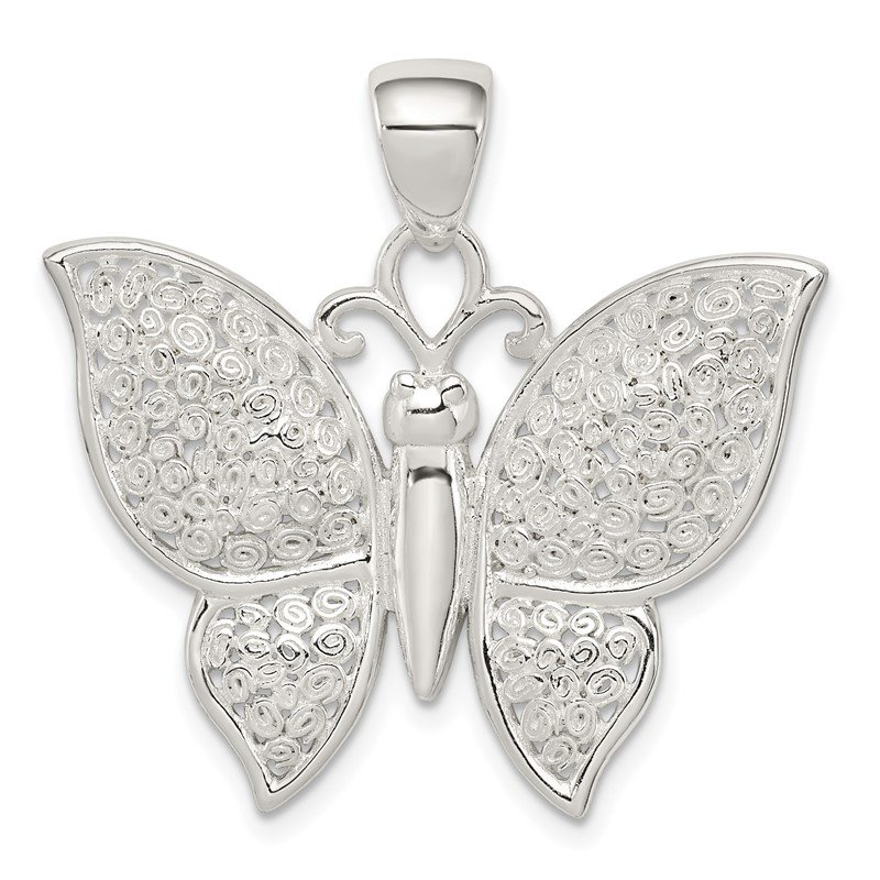 Quality Gold Sterling Silver Polished & Textured Butterfly Pendant