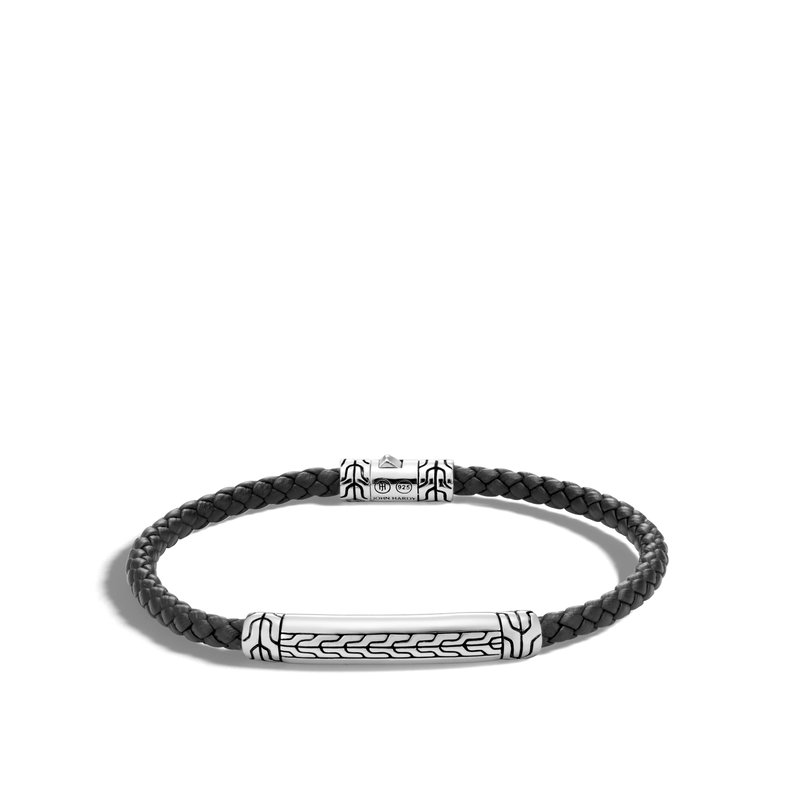 JOHN HARDY Classic Chain 4MM Station Bracelet in Silver and Leather