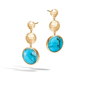 Dot Drop Earring in Hammered 18K Gold with Gemstone