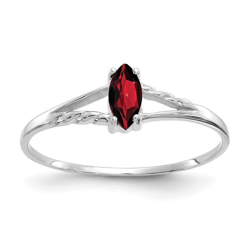 Quality Gold 14k White Gold Garnet Birthstone Ring