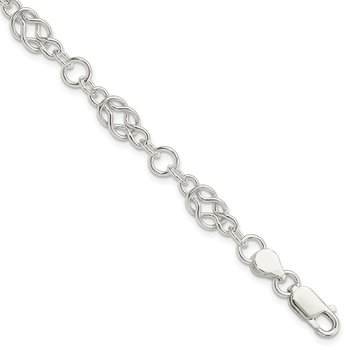 Sterling Silver 7.5inch Polished Fancy Knot-Link Bracelet
