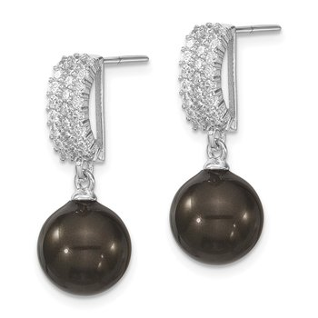 Sterling S Majestik Rh-pl 10-11mm Blk Imitat Shell Pearl & CZ Dangle Earrin