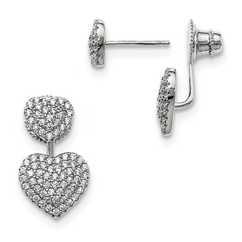 Sterling Silver CZ Brilliant Embers Hearts Post Earrings