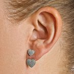 Quality Gold Sterling Silver CZ Brilliant Embers Hearts Post Earrings