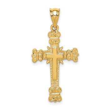 14K Polished Fancy Cross Pendant