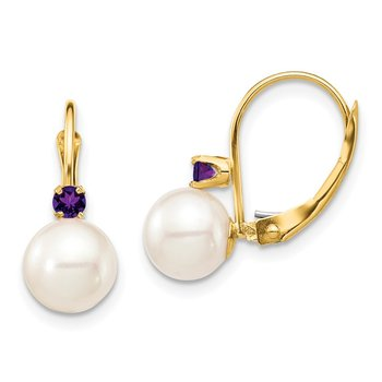 14K 7-7.5mm White Round FWC Pearl Amethyst Leverback Earrings