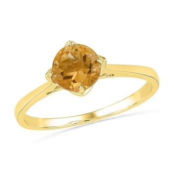 10kt Yellow Gold Womens Round Lab-Created Citrine Solitaire Ring 3/4 Cttw