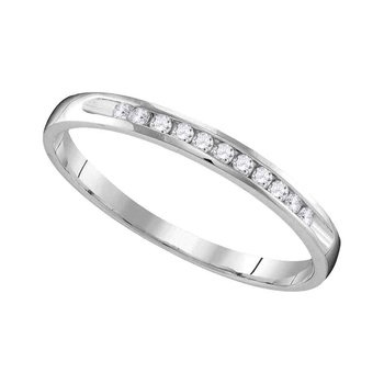 10k White Gold Womens Round Diamond Wedding Anniversary Bridal Band Ring 1/10 Cttw