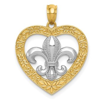 14k w/Rhodium Polished & Satin Fleur de Lis Heart Pendant