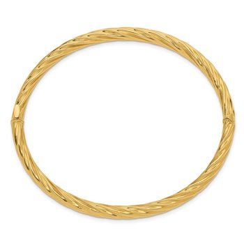 14k 4/16 Fancy Textured Hinged Bangle Bracelet