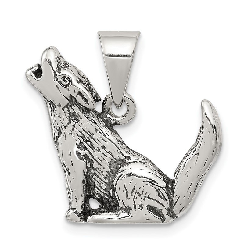 Quality Gold Sterling Silver Antiqued Wolf Charm