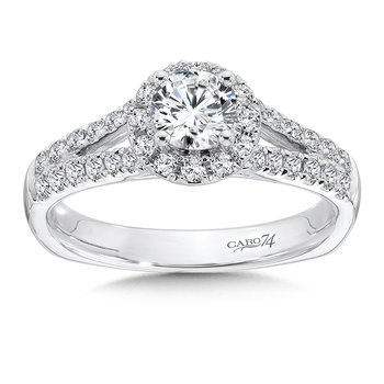 Halo Engagement Ring with Split Shank in 14K White Gold with Platinum Head (1/2ct. tw.)