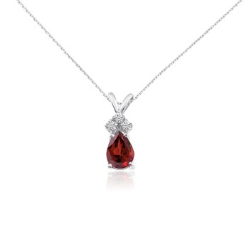 14k White Gold 7X5 Garnet Pear Pendant with Diamonds