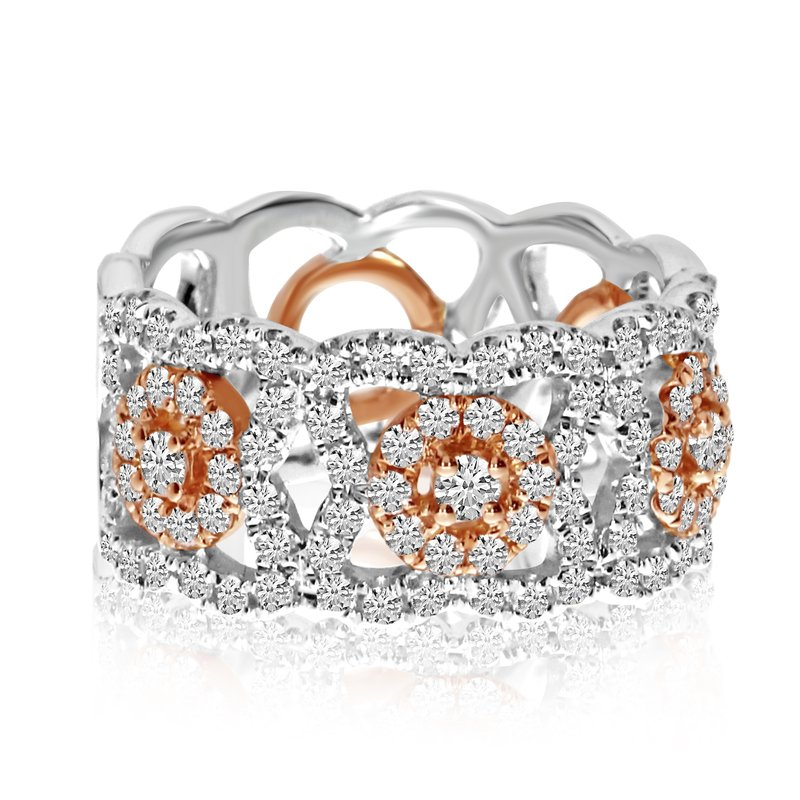 Color Merchants 14k Gold Rose Gold Two-toned Diamond Band