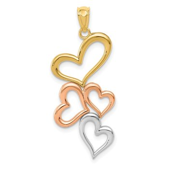 14K w/Rose and White Rhodium Hearts Pendant