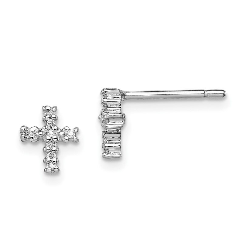 Quality Gold Sterling Silver Rhodium Diamond Cross Post Earrings