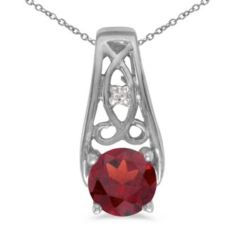 14k White Gold Round Garnet And Diamond Pendant