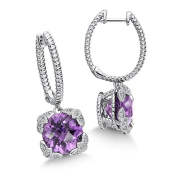 Sterling Silver Diamond & Amethyst Dangle Hoop Earrings