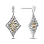 Essentials 10K White & Yellow Gold 1/4 Ct Diamond Fashion Earrings
