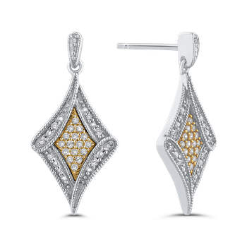 10K White & Yellow Gold 1/4 Ct Diamond Fashion Earrings