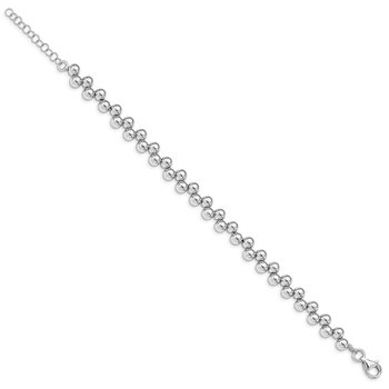 Sterling Silver Rhodium-plated Offset Beads w/1.25in. Ext. Bracelet