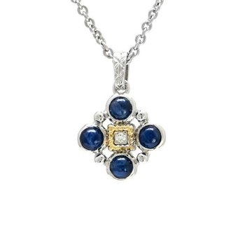 18KT & STERLING SILVER SAPPHIRE CABOCHON AND DIAMOND PENDANT WITH CHAIN