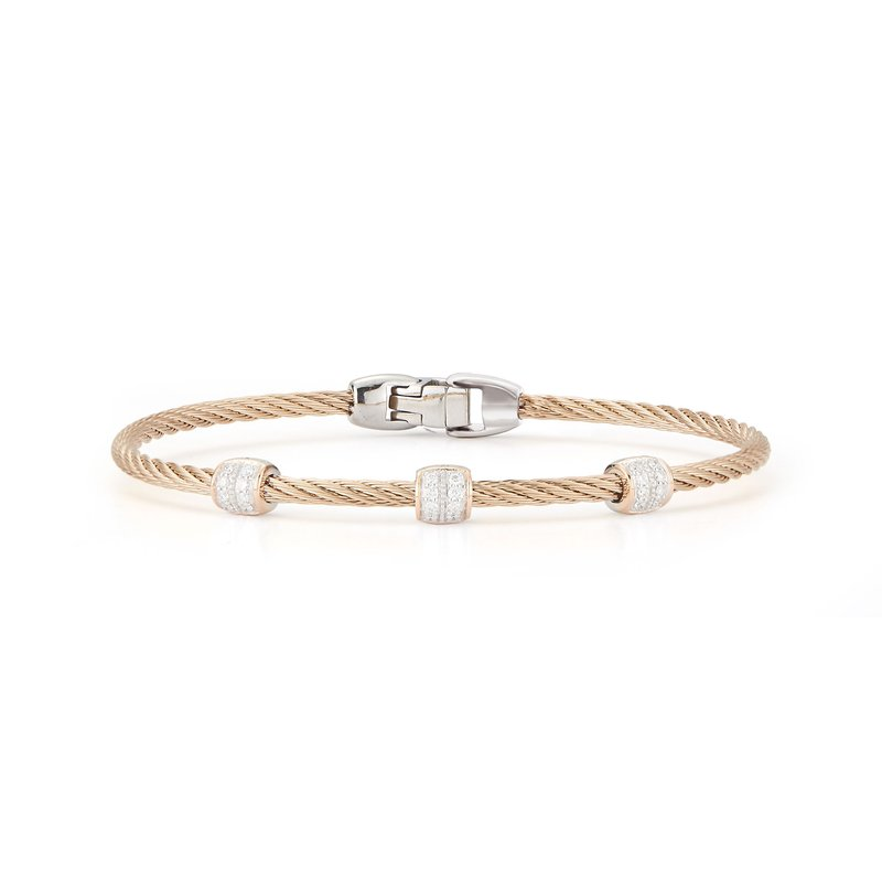 ALOR Catalog Carnation Cable Triple Station Stackable Bracelet with 18kt Rose Gold & Diamonds