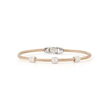 Carnation Cable Triple Station Stackable Bracelet with 18kt Rose Gold & Diamonds