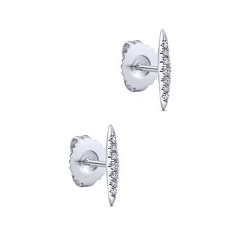 14k White Gold Elongated Teardrop Diamond Drop Earrings