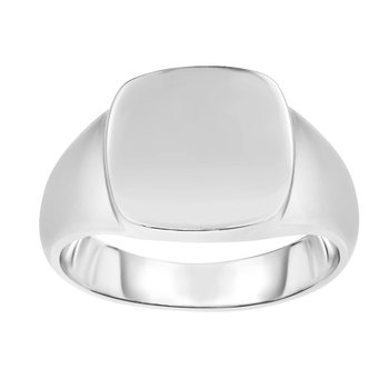 Silver Polished Square Signet Ring