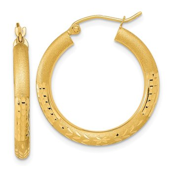 14k Polished Satin and Diamond-cut Hoop Earringss