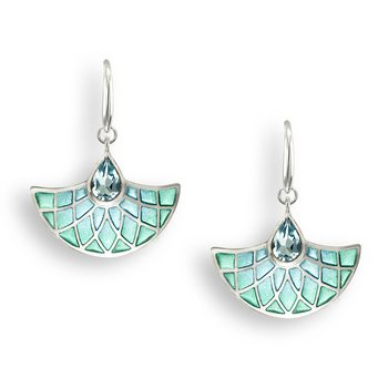 Blue Art Deco Fan Wire Earrings.Sterling Silver-Blue Topaz - Plique-a-Jour