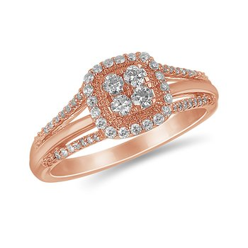 10K RG and diamond cluster halo Petite engagement ring in Micro Prong setting