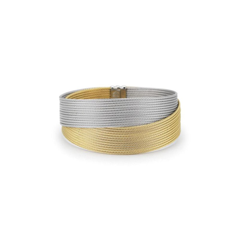 ALOR Grey & Yellow Cable Crossed Wrap Bracelet with 18kt White Gold
