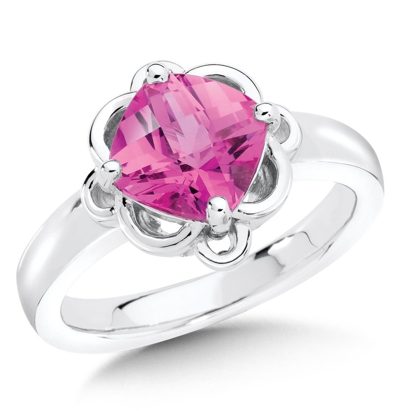Colore Sg Sterling Silver Created Pink Sapphire Ring
