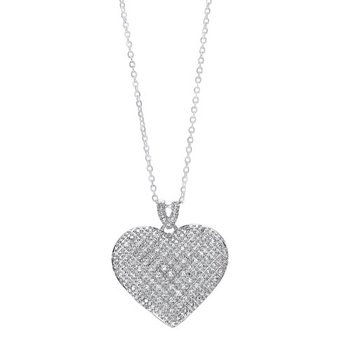 Diamond Pave Heart Pendant Necklace in Sterling Silver