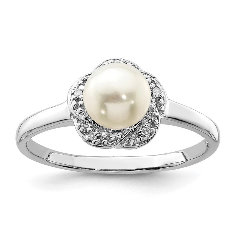 Quality Gold Sterling Silver Rhodium 6mm FW Cultured Button Pearl & Diamond Ring
