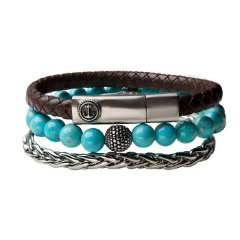 Blue Turquoise Stone, Steel Spiga Chain and Brown Leather Stackable Bracelets