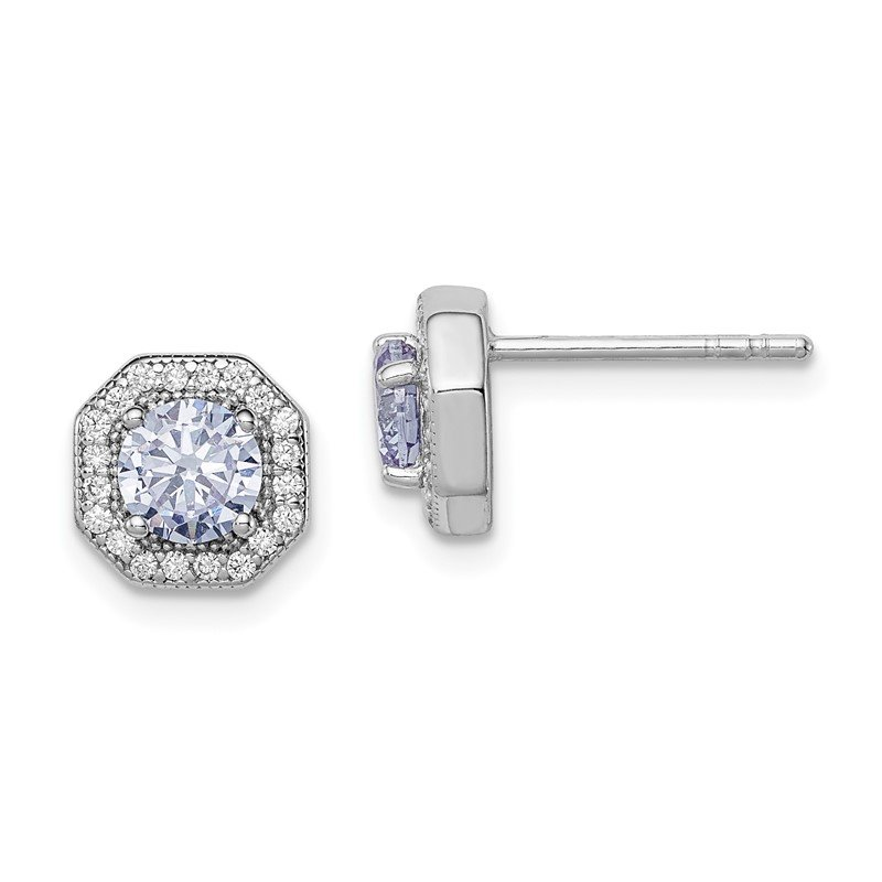Arizona Diamond Center Collection Sterling Silver Rhodium-plated Violet CZ Post Earrings
