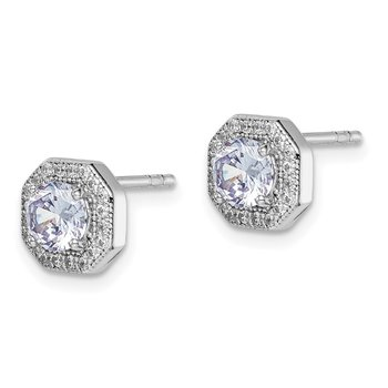 Sterling Silver Rhodium-plated Violet CZ Post Earrings