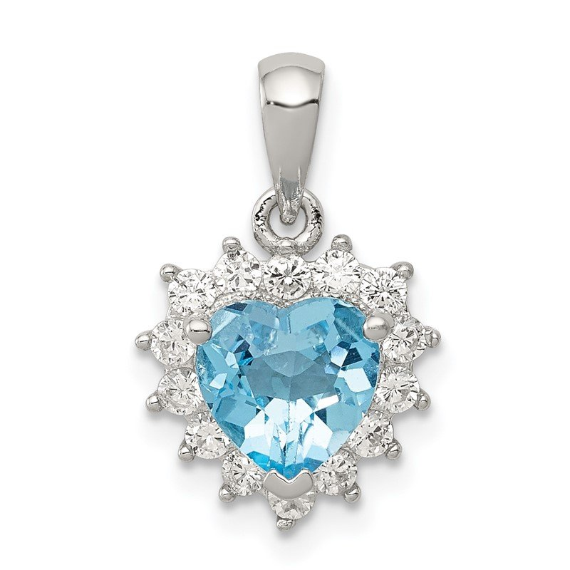 Quality Gold Sterling Silver Blue Topaz & CZ Pendant