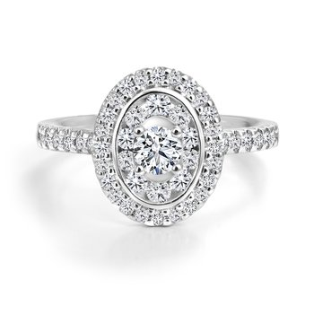 Oval Design Double Halo Diamond Engagement Ring