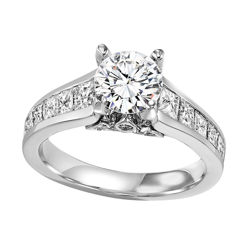 14K Diamond Engagement Ring 1 1/2 ctw With 1 ct Center Diamond