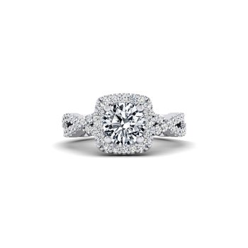Cushion Shaped Ribbon Style Diamond Engagement Ring